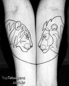 Amazing Minimalist Single Line Tattoos Art by Mo Ganji. Mini Tattoos, Bunny Tattoos, Body Art Tattoos, Lion And Lioness Tattoo, Tiger Tattoo, Hase Tattoos, Tattoo Geometrique, Leo Sign Tattoo, Partner Tattoos