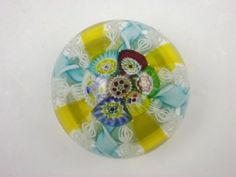 Murano latticino & blue ribbon millefiori vintage glass paperweight