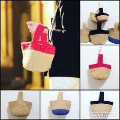 ワンハンドルトート 中身が出し入れし易いんです。 #麻ひも #麻ひもバッグ #ワンハンドル#バイカラー #ツートーン #トート Crochet Baby, Knit Crochet, Craft Bags, Basket Bag, Crochet Purses, Knitted Bags, Handmade Bags, Crochet Projects, Straw Bag