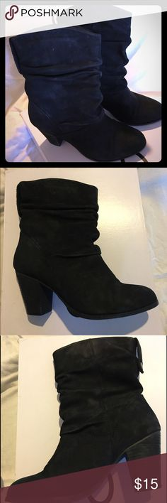 Aldo Huska Black Suede Boot Size 7 Super comfortable and versatile scrunched suede black boot. 3 inch heel. GUC ALDO Shoes Heeled Boots