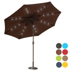 Sundale Outdoor 10 Ft Solar Powered 24 LED Lighted Patio Umbrella Table  Market Umbrella With Crank