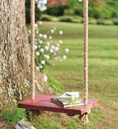 Especially for Charlotte--for tree on parkway. Rope Tree Swing With Wooden Seat