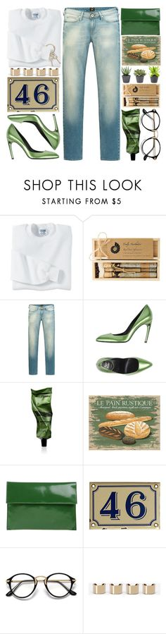 """""""Old Jeans & White T-Shirt"""" by grozdana-v ❤ liked on Polyvore featuring Gildan, Truly Aesthetic, Lee, Roger Vivier, Aesop, Marni, Maison Margiela and Gucci"""
