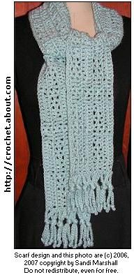 Openwork Triangles Design Scarf   free #crochet #scarf patterns