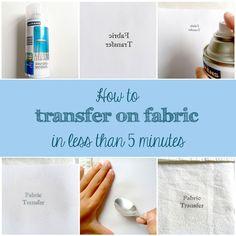 Como hacer un transfer en tela en menos de 5 minutos