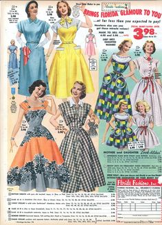 1952 Florida Fashions... the grey/orange and grey/yellow combos aren't so new after all!