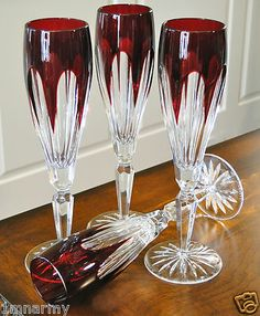4 FABERGE LAUSANNE FLUTES GLASSES, CASED CRYSTAL NEW, RUBY RED, SIGNED | eBay