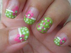 Pink Polka Dot Bikini - Nail Art Gallery by NAILS Magazine.I would love this on the toes. Fancy Nails, Trendy Nails, Diy Nails, Gel Manicure, Shellac, Fingernail Designs, Toe Nail Designs, Cute Nail Art, Cute Nails