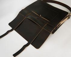 Handmade Large Leather Messenger Bag Thick VegTan by BasAder