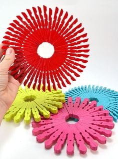 Colorful+Wooden+Trivets made from clothespins from Wal-Mart. This would be a great craft for kids!