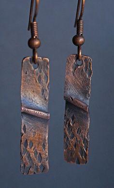 Folded Copper Earrings by driftnbleu on Etsy