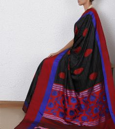 Black Handloom Banarasi Katan Silk Saree