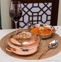 Serving Handi - Copper with Brass Handles with Cover | Varli Ware | Kitchen Essentials
