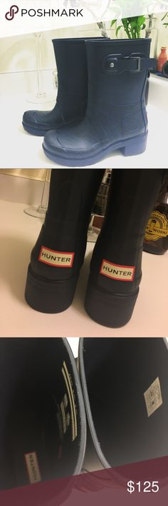 Hunter Wave Pattern Boots  Sz 6 New without box. Ankle size boots. No lining. Dark blue. Rain boots. Hunter Boots Shoes Ankle Boots & Booties