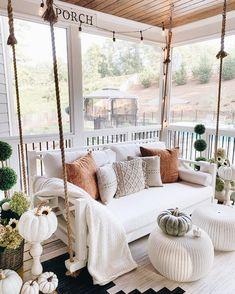 Fall front porch with rope swing with pillows via Mygeorgiahouse- Kellye. Fall front porch with rope swing with pillows via Mygeorgiahouse- Kellye. A great way to decorate your front porch for autumn! More seasonal decor this way. House Inspo, House Rooms, House Design, Front Porch Decorating, Bedroom Decor, Home Decor, House Interior, Fall Front Porch Decor, Porch Decorating