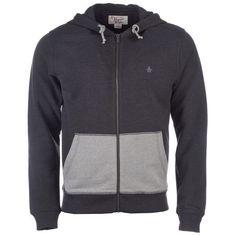 Original Penguin Charcoal Marl Mens Zip Hoody via Polyvore featuring men's fashion, men's clothing and men's hoodies