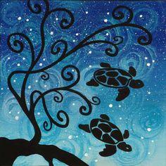 """quadro fiabesco """"tartarughe""""   cm 15x15   dipinto a mano da Max e Elena Panizza   www.panizza.info"""