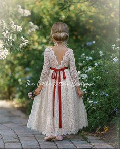 Bohemian Flower Girl Dress, Rustic Flower Girls, Ivory Flower Girl Dresses, Bohemian Flowers, Tulle Flower Girl, Boho Wedding Dress, Girls Dresses, Wedding Dresses, Lace Dress
