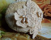 Vintage Lace Button by GypsyFeather ... ecru ...  Antique rice pearls, lace flower flourish, 21307, gypsy feather