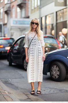 Zara midi dress with Hermes sandals.