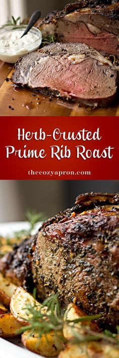 This succulent prime rib, stuffed with garlic and topped with a crispy herb crust, makes for an extra special holiday meal! Meat Recipes, Cooking Recipes, Meat Meals, Game Recipes, Smoker Recipes, Budget Recipes, Easy Cooking, Cooking Tips, Steaks