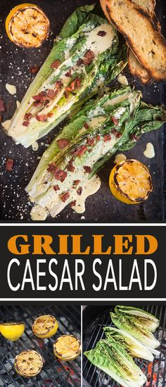 An easy recipe for grilled romaine Caesar salad elevated with crispy pancetta (or bacon), grilled lemon, and grilled croutons. The perfect side dish for grilled meats or backyard BBQ! #grilledcaesar #grilledsalad #grilledromaine #caesarsalad #vindulge