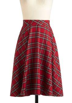 Illustrative Style Skirt  red, Christmas plaid, knee length skirt  $65 Modcloth