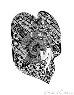 Vector abstract background with lying girl  on black and white . Hand drawn live traced illustration.