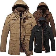 Mens Jacket Military Canvas Cotton Hooded winter Warm Outerwear Coat parka Slim