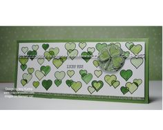Patrick's day card, Lucky You from And Many More and hearts from So You Photopolymer stamp, coloring glimmer paper, heart shamrock Green Craft, Green Day, Creative Studio, Confessions, Stampin Up, Stamps, Coloring, Hearts, Invitations