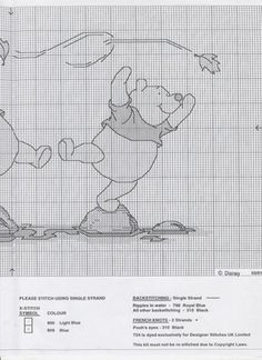 Winnie the Pooh Stepping Stones Cross Stitch Fairy, Cross Stitch For Kids, Just Cross Stitch, Disney Cross Stitch Patterns, Cross Stitch Designs, Cross Stitching, Cross Stitch Embroidery, Stitch Cartoon, Kids Patterns