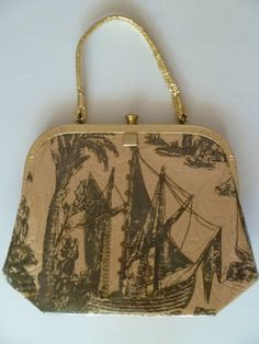Plastic-covered 1960s purse with boat scene.