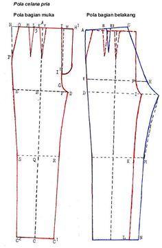 Sewing Clothes For Men Pola Dasar Celana Pria ~ Cara Menjahit Pakaian Sewing Men, Sewing Clothes Women, Sewing Pants, Men Clothes, Free Sewing, Diy Clothes Jeans, Mens Slacks, Kids Pants, Men's Pants