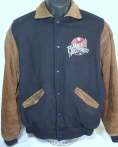 Planet Hollywood Orlando Mens Size Medium Suede Wool Jacket #PlanetHolywood #VarsityBaseball