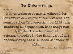 Aus: Der Moderne Knigge – Julius Stettenheim: Leitfaden für den Sommer - auf der Kur #Zitate #LeLiFe