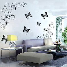 Vinyl Flower Vine Butterfly Wall Stickers Television Backdrop Home Decoration Wall Art Sticker Wall Decal #Affiliate
