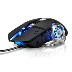LENRUE Laser Gaming Mouse Wired with 6 Programable Buttons 4 Color Cycle Breathing, High Precision Metal Base, Used for games and office (black) Purple Ladybugs, Kids Tumbler, Light Cycle, Computer Gadgets, Tumblers With Lids, Stainless Steel Rings, Computer Accessories, Computer Mouse, Games