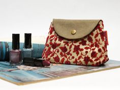 Red Floral Velvet Snap Pouch  Handmade with Love from by EllaOsix