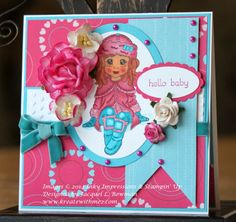 Inky Impressions design team card created using Sweet Winter Lili rubber stamp