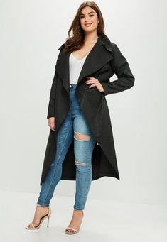 Dark grey tailored waterfall coat with open front.