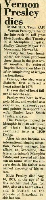 *VERNON PRESLEY ~ Dies