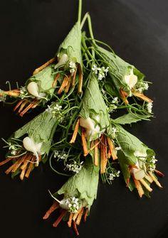 Brandade- Pureed Cod, Potatoes, & Garlic piped into Garlic Mustard Leaves with Fried Potato Sticks