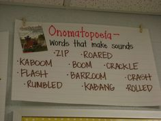 onomatopoeia- or ear with a NY accent... effect you hear- also with a New Yawk accent.