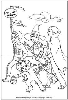 Trick or treating colouring page, Halloween colouring pages