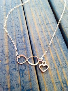 Sideways Sterling Silver Infinity Necklace with Heart $21 from Silver Bliss Shop on etsy.com