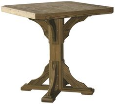 This treated wood patio bar table is constructed of select-grade, pressure-treated yellow pine wood and assembled with stainless steel screws, for long-lasti Patio Bar Table, Trestle Dining Tables, Outdoor Dining Furniture, Wood Patio, Amish Furniture, Stainless Steel Screws, Made In America, Pine, Deck