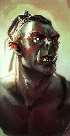 The Elder Scrolls * orc warrior * art * illustration Fantasy Portraits, Character Portraits, Fantasy Artwork, Character Art, Character Design, Character Concept, Concept Art, Fantasy Races, High Fantasy