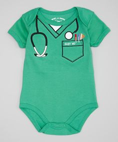 Look at this Wan-A-Beez Green Embroidered Scrubs Bodysuit - Infant on #zulily today!