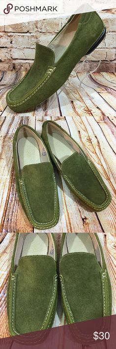 Cole Haan Olive Green Slip On Loafers Shoes Flats These shoes are in very good, lightly worn condition. Minor scuffs, scratches and marks from light wear. Please see pics for more details (: Cole Haan Shoes Flats & Loafers