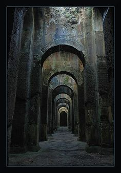 Piscina Mirabilis, Napoli, Italy - One of the largest freshwater cisterns built by the ancient Romans, it was situated there in order to provide the Roman western imperial fleet at Portus Julius with drinking water. Abandoned Buildings, Abandoned Places, Architecture Antique, Roman Architecture, Architecture Design, Southern Italy, Belle Photo, Places To See, Paths